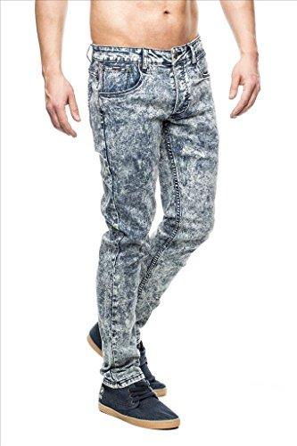 MEGASTYL Herren Jeans Hose in acid waschung mit stretch anteil Blau Blau
