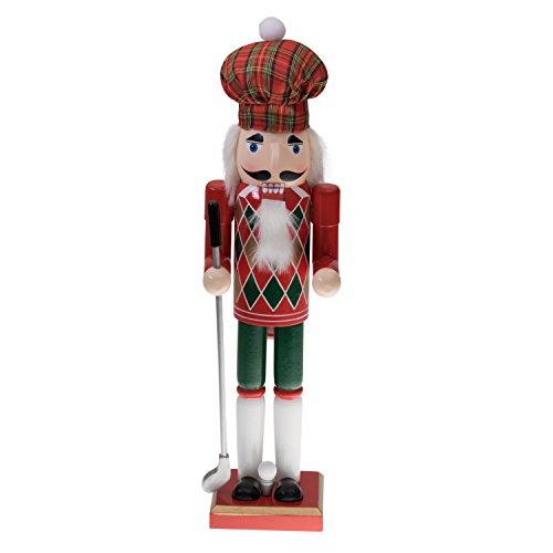 """Clever Creations - Nussknacker Golfer - mit Golfschläger, weihnachtlicher Karomütze & Oberteil mit Argyle-Muster - perfekt für Regale und Tische - Sammlerstück - Holz - Rot & Grün - 15"""" (38,1 cm)"""