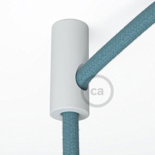 Suporte con enganche de techo blanco para cable eléctrico textil con tornillo...