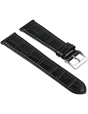 Nevada Ersatzband Manufaktur Uhrenarmband Kalbsleder Kroko-Prägung schwarz 25751S, Stegbreite:19mm