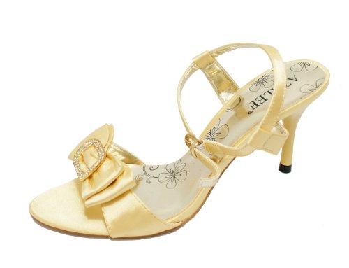 Les sandalettes dorées avec un noeud (8072) Doré