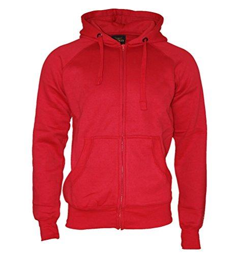 ROCK-IT Apparel® Kapuzenjacke Slim Fit Sweatjacke Heavy Hoodie Zipper Workerhoodie Pullover - Herren - Rot von Rock-IT X-Large - Rote Fleece Kapuzenjacke