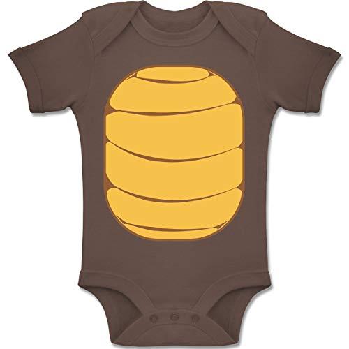 Karneval und Fasching Baby - Schildkröten Kostüm - 3-6 Monate - Braun - BZ10 - Baby Body Kurzarm Jungen Mädchen