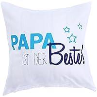 VORCOOL 45 x 45 cm Funda de Almohada Funda de Almohada Decorativa Funda de Almohada para sofá Couch Casa de Campo al Aire Libre Regalo del Día del Padre (Papa ist Der Beste)