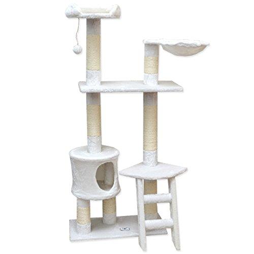 eyepower Katzenkratzbaum Pia Mittelgroßer freistehender Kratzbaum ca. 142 cm hoch Stämme aus Natursisal weiche Plüsch-Liegeflächen Kletterbaum Spielbaum für Katzen Weiß
