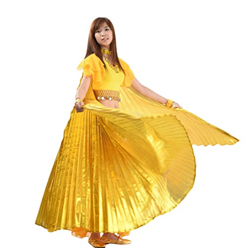 Features:Egyptian Egypt Belly Dance Dancing Costume Isis Wings Dance Wear Wing100% Brand new and high quality Materials: Polyester There is a adjustable neck collarSize:Length: 150cm from neck to the end of the stick600cm from end to end of the wings...