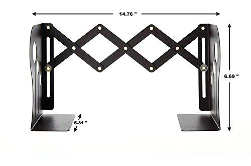 lenhar Metall Buchstützen–Heavy Duty & verstellbar modernes Design mit Die Form ist, klein schwarz