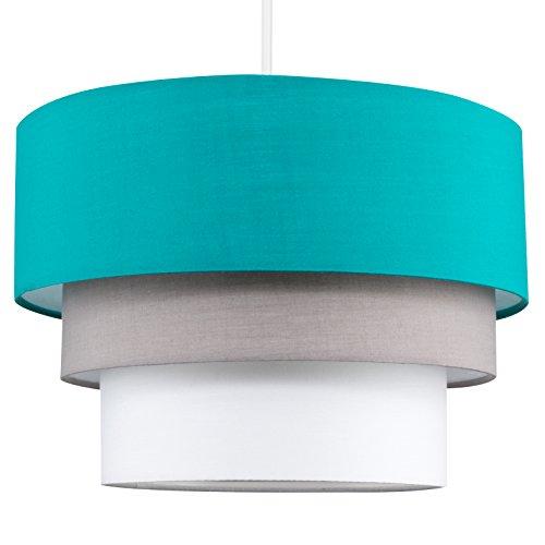 MiniSun - Preciosa pantalla de lámpara de techo colgante Azteca - redonda a 3 niveles de tela en turquesa, gris y blanco