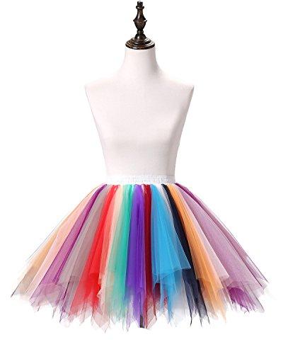 Poplarboy Damen Kurz 50er Vintage Petticoat Reifrock Mehrfarbengroß Unterröcke Braut Crinoline Ballett Blase Tutu Ball Kleid Underskirt Farbe1