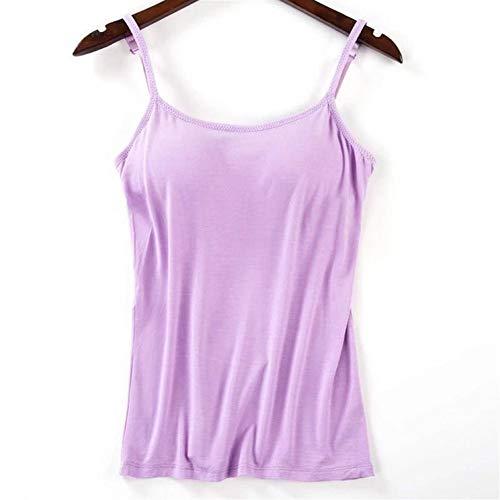 Gepolsterte Bh-hemdchen (LOVEYOUYUE Frauen-Tanktop, verstellbares, einfarbig gepolstertes BH-Hemdchen (Color : Lila, Größe : XL))