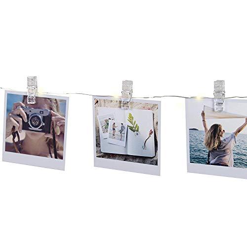 Kindax 40 led con mollette per foto striscia luci portafoto con 8 modalità di illuminazione regolabile con il telocomando catena luminosa funziona a batterie o usb per decorazione giardini camere matrimonio festa di natale compleanno