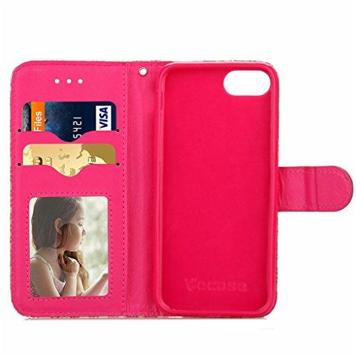 """Trumpshop Smartphone Case Coque Housse Etui de Protection pour Apple iPhone 7 4.7"""" (Séries Retro) + Noir + Ultra Mince Smarphonetcoque Portefeuille PU Cuir Avec Fonction Support Anti-Choc Anti-Rayures Rose"""