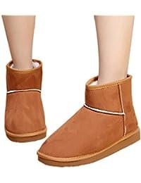Minetom Donna Classic Mini Neve Stivali Autunno Inverno Calzature Female  Moda Flats Shoes ( Marrone EU d5a06a15fab