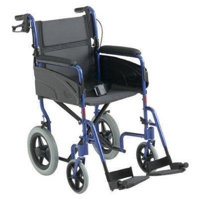 Transit-Rollstuhl ALU LITE blau SB40.5 ,ST43, Handbetriebene Standard-Rollstühle