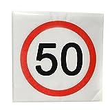 Serviette zum 50. Geburtstag - Größe 33x33cm - Packungsinhalt 12Stück bedruckt mit Verkehrsschild Zahl 50