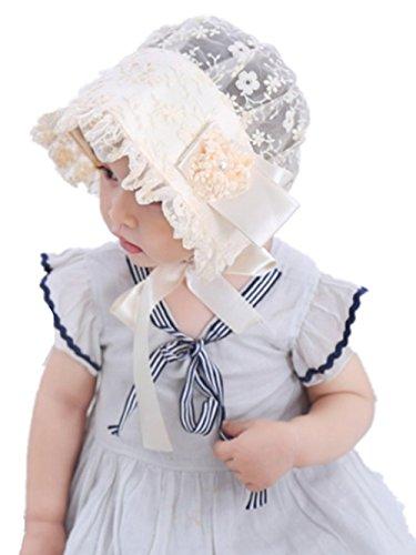 WeiL CL Cute Baby Mädchen Lacy Bonnet Öse Bogen Blume Atmungsaktive Baumwolle Spitze Sun Stickerei Baby Hut (Beige) (Öse Bogen-kleid)