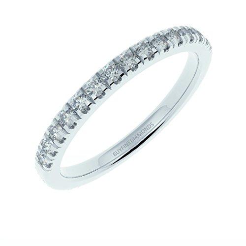 Top Qualität 1/4Karat Rund Diamant Mikro-Pavé Half Eternity Ring, 9K weiß Gold