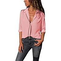 Hanomes Damen pullover, Frauen Casual Solid Langarm-Shirt Bluse Button-Down-Tops preisvergleich bei billige-tabletten.eu