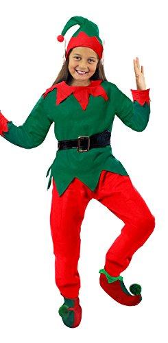 ILOVEFANCYDRESS Weihnachts ELF KOSTÜM-WICHTEL VERKLEIDUNG-Kinder = ROT GRÜNES KOSTÜM+MÜTZE MIT Ohren +Schuhen MIT GRÜNEN Pompoms = ROTE Hose+GRÜNES Oberteil +SCHWARZEN Plastik GÜRTEL-XLarge (Weihnachten Elf Kostüm Kinder)