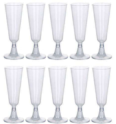 (100 Plastik Sektgläser 0,1L I Bruchfeste Einweg Sektglas I Sektkelche für Hochzeit | Champagnergläser aus Kunststoff)