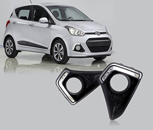 Auto Pearl - Led Daytime Running Light DRL With Fog Lamp Chrome Cover For Hyundai I10 Grand