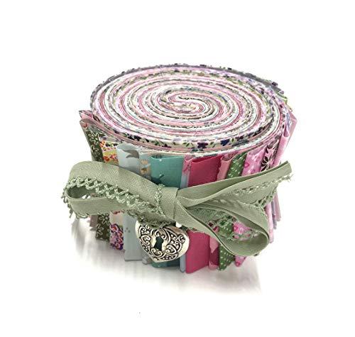 Jelly Roll Vintage Garden - die Jelly Roll beinhaltet 20 Streifen à 2,5 Inch (=6,5cm) Breite und 135 cm Länge 100% Baumwolle 1m Schrägband mit Häkelborte 1x Herzanhänger
