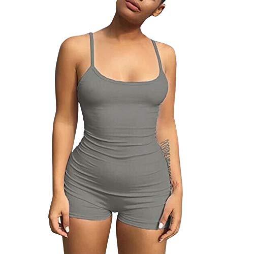 Damen Jumpsuit Kurz feiXIANG Backless Solide Spielanzug Elegant Playsuit Einteiler Sling Sportbekleidung Sommer (Grau,L)