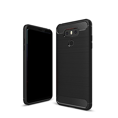 EKINHUI Case Cover Dünn und leichtgewichtig gebürstet Carbon Fiber robuste Rüstung Back Cover Stoßstange Fall Shockproof Drop Resistance Shell Cover für LG G6 ( Color : Red ) Black