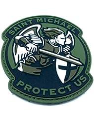 Saint Michael proteger Nosotros Crusader Verde PVC Airsoft Patch