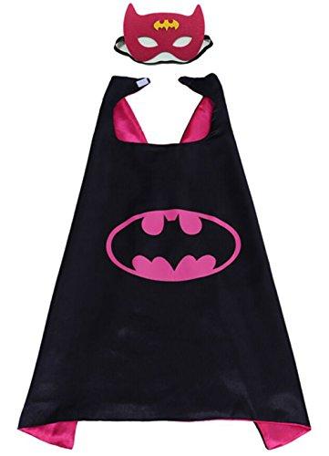 VEVESMUNDO Karnevalskostüm Superhelden Verkleiden Umhang Kinder Kostüm Verkleiden mit Masken für Kinder von 0 bis 15 Jahre (Batgirl Superhelden Kostüm, 140cm x 90cm / 55in x 35in)