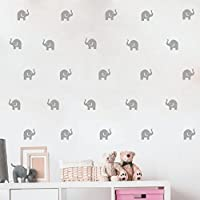 Cute Elephant Wall Decal -36 Sets Babyi Elephant Wall Decor Stickers - Art Vinyl Removable Wall Decals for Kids Bedroom Nursery Room Mural
