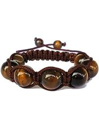 0722de67380 PANDORESECRETS Shamballa bracelet enfant oeil de tigre brun de pierre  (Fille ou Garçon 3-