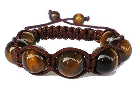 Shamballa bracelet enfant oeil de tigre brun de pierre (Fille ou Garçon 3-12 ans) fabrication artisanal made in France