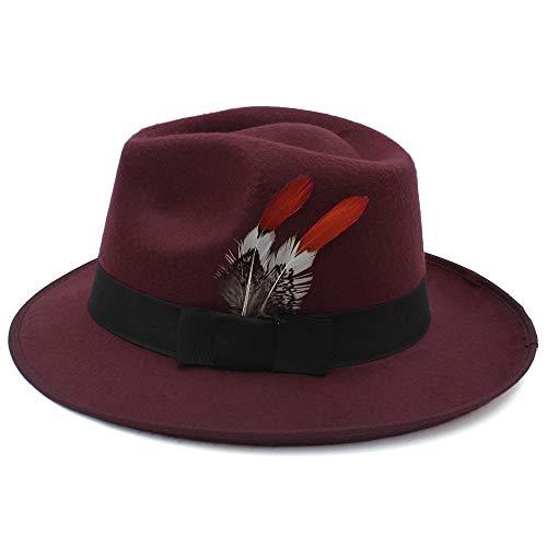 Bangxiu Filzhüte Caps & Kopfbedeckungen New Jazz Hat Knight Wollmütze Mütze Casual Hut Schwarz Grau Fedora Herbst Und Wintermütze Für Kostüm Kostüme Zubehör (Farbe : Dark red, Größe : 56-58CM)