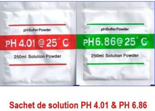 MK Lot de 2 Sachets de Solution PH 6.86 4.01 6.86 PH étalonnage calibrage Piscine Buffer 195fb9