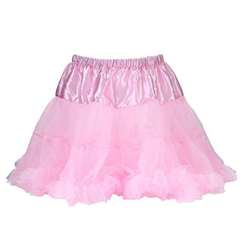 (UTOVME Damen Rock 4 Layer Petticoat Unterrock Tüll Tutu Röcke Ballett Puff Rock für Tanz Party Bühnen Kostüm Show Cosplay, Pink)