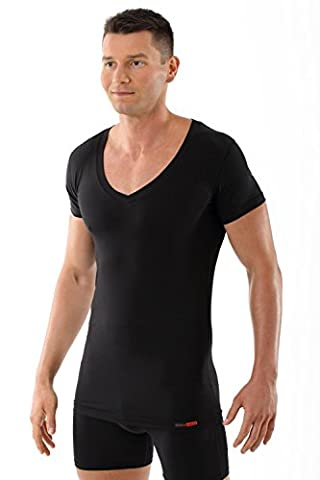 ALBERT KREUZ men's black business deep-V undershirt with short sleeves made of soft and light stretch-cotton XL