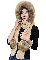 3592844837b Femme Ensemble d hiver Bonnet Echarpe Gants 3 en 1 en Fausse Fourrure  Chapeau d