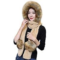 ca0a936cebc4 Femme Ensemble d hiver Bonnet Echarpe Gants 3 en 1 en Fausse Fourrure  Chapeau d