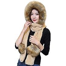 Femme Ensemble d hiver Bonnet Echarpe Gants 3 en 1 en Fausse Fourrure  Chapeau d 3a71df87e45