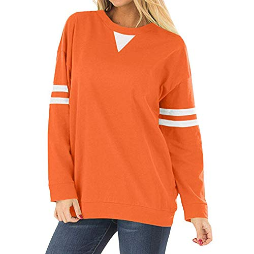 Damen Kapuzenpullover Lange Ärmel Hoodie Pullover Ronamick Frauen Streifen Patchwork Langarm Sweatshirt Pullover Shirt Tops Bluse(XXL, Orange) -