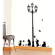 Vinilo Decorativo Pegatina Pared Pegatina Diseño de Gatos PVC Original Decoración Casera Creativa DIY para Ventanas, Puertas, Pared Negro