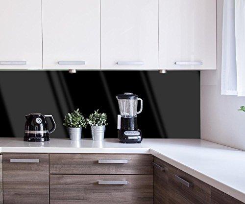 wandmotiv24 Küchenrückwand einfarbig Schwarz 180 x 60cm (B x H) - Acrylglas 4mm Nischenrückwand Spritzschutz Fliesenspiegel-Ersatz M0756