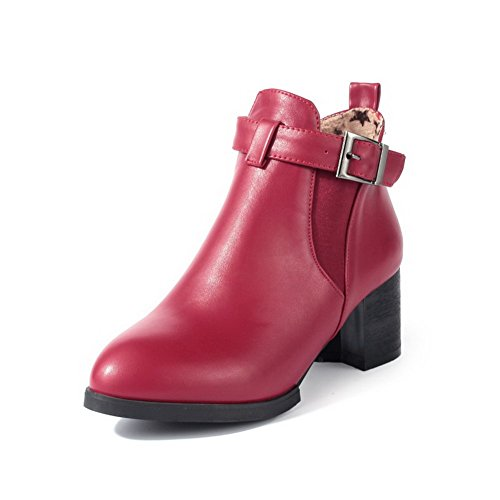 agoolar-womens-pu-ankle-high-solid-buckle-kitten-heels-boots-red-42