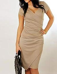 YFLTZ Vestido Ajustado básico de Mujer - Color sólido, Patchwork, ...