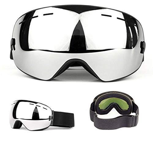 WFFH Skibrille-Spektakel Ski/Snowboard Brille Für Männer, Frauen Und Jugendliche-100% UV-Schutz,Silver
