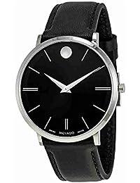 Movado Women's Ultra Slim 40mm Leather Band Steel Case Quartz Watch 0607086