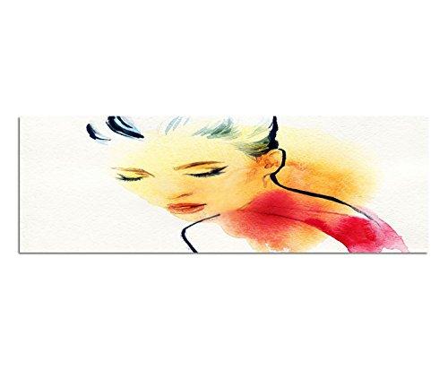 Bilder Wand Bild - Kunstdruck 150x50cm Malerei Wasserfarben Frau Portrait