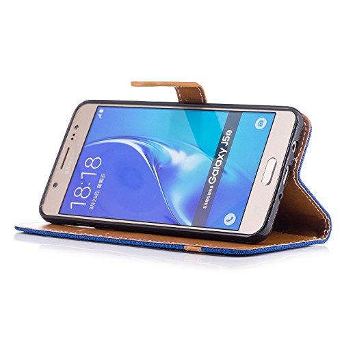 Custodia Galaxy J5 2016, ISAKEN Flip Cover per Samsung Galaxy J5 2016 con Strap, Elegante Bookstyle Contrasto Collare PU Pelle Case Cover Protettiva Flip Portafoglio Custodia Protezione Caso con Suppo Marrone+blu