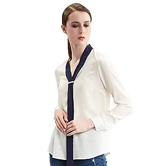 a77fdc1502e010 Bluse/ Langarmbluse: Seiden Shirt Langen Damen Ribbon Schlagfarbe  Hemdkragen Design Tops Elegante Loses Weiß Hemd